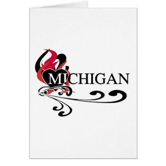 Corazón Michigan del fuego Tarjeta De Felicitación