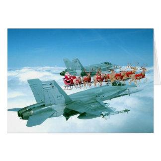 Corazón militar del navidad tarjeton