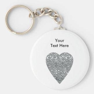 Corazón. Modelo gris gris claro y mediados de impr Llavero Redondo Tipo Pin