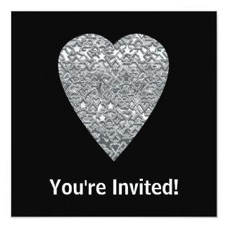 Corazón. Modelo gris gris claro y mediados de Invitación 13,3 Cm X 13,3cm