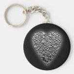 Corazón. Modelo gris impreso Llavero Personalizado