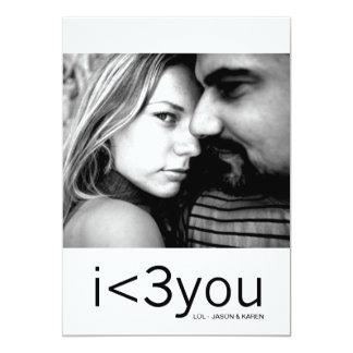 """Corazón moderno de 311 I usted texto de la tarjeta Invitación 5"""" X 7"""""""