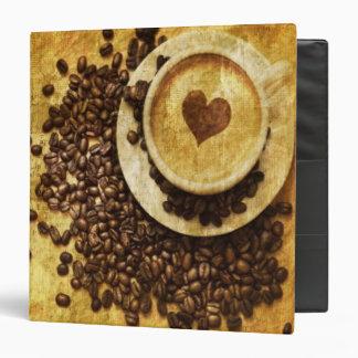 """corazón moderno del cappuccino de los granos de ca carpeta 1 1/2"""""""