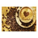 corazón moderno del cappuccino de los granos de ca invitaciones personalizada