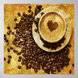 corazón moderno del cappuccino de los granos de ca poster