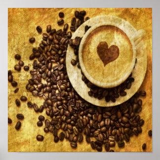 corazón moderno del cappuccino de los granos de ca póster