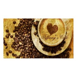 corazón moderno del cappuccino de los granos de ca tarjetas de visita