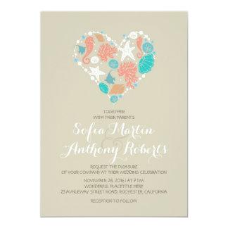 corazón moderno del mar de la invitación del boda