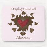 Corazón Mousepad de la fresa del chocolate Alfombrilla De Ratón