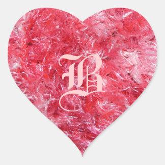 ¡Corazón mullido rosado bonito con su inicial! Pegatina En Forma De Corazón