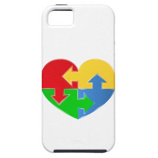 Corazón multicolor del caso del iPhone 5 de la Funda Para iPhone 5 Tough