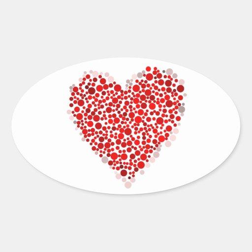 Corazón multicolor del el día de San Valentín Colcomanias De Oval