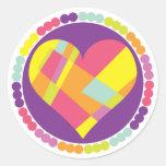 Corazón multicolor pegatinas redondas