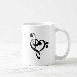Corazón musical - Clefs agudos y bajos Taza Clásica