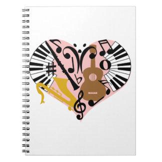 Corazón musical libro de apuntes