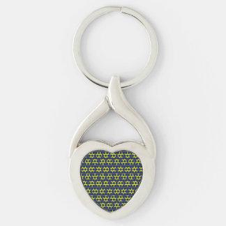 Corazón negro amarillo azul del punto llavero plateado en forma de corazón