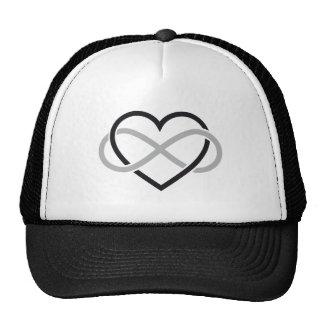 Corazón negro con la muestra del infinito gorros bordados