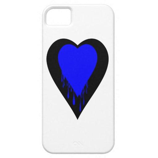 Corazón negro con la pintura azul del goteo iPhone 5 Case-Mate cobertura