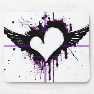 Corazón negro con las alas Mousepad Tapetes De Ratones