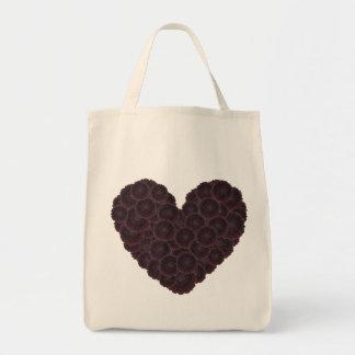 Corazón negro de la dalia bolsa tela para la compra