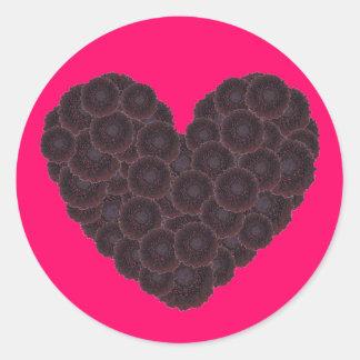 Corazón negro de la dalia pegatina redonda