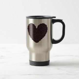 Corazón negro de la dalia taza térmica