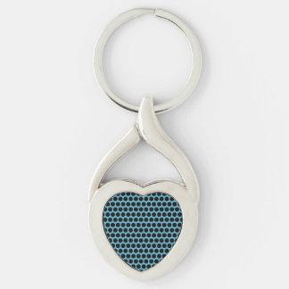 Corazón negro del azul del punto llavero plateado en forma de corazón