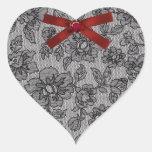 Corazón negro del cordón colcomanias corazon