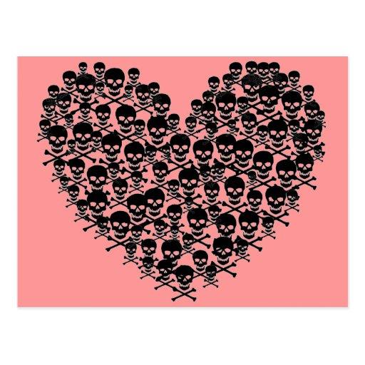 Corazón negro del cráneo tarjetas postales