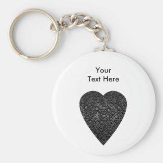 Corazón negro. Diseño modelado del corazón Llavero Redondo Tipo Pin