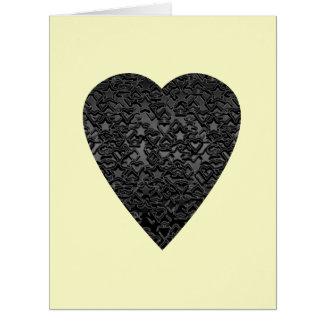 Corazón negro. Diseño modelado del corazón Tarjeta De Felicitación Grande