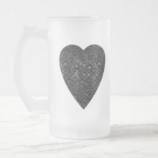 Corazón negro. Diseño modelado del corazón Taza De Cristal