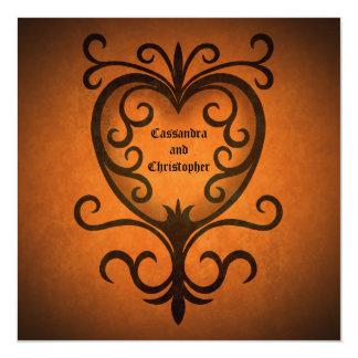 Corazón negro elegante romántico del scrollwork invitación 13,3 cm x 13,3cm