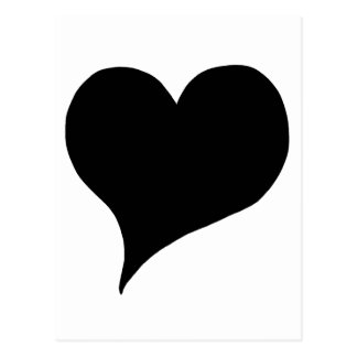 Corazón negro estilizado postal