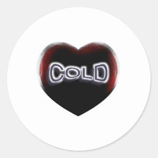 Corazón negro frío pegatina redonda
