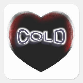 Corazón negro frío calcomanías cuadradases