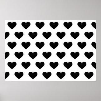 Corazón negro grande - monograma póster