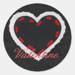 Corazón negro pegatinas redondas