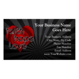 Corazón negro/rojo del amor de la esperanza de la tarjetas de visita