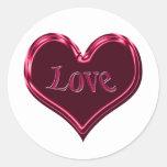 corazón negro rojo del amor pegatina redonda