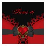 Corazón negro rojo del cordón 16 del dulce comunicados personalizados