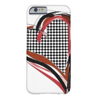 Corazón negro, rojo y blanco del tablero de damas funda de iPhone 6 barely there