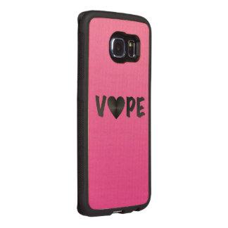 Corazón negro rosado bonito de Vape Funda De Madera Para Samsung Galaxy S6 Edge
