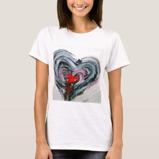 Corazón negro y rojo T Playera