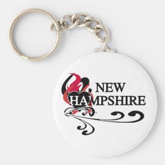 Corazón New Hampshire del fuego Llavero Redondo Tipo Pin