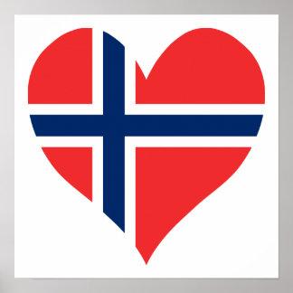 Corazón noruego de la bandera póster