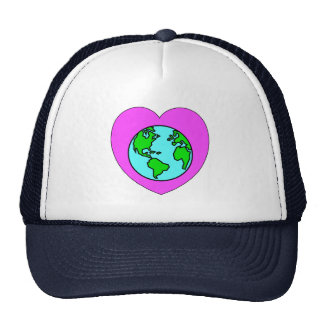 Corazón nuestro planeta gorras de camionero