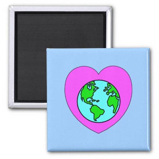 Corazón nuestro planeta imán cuadrado