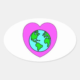 Corazón nuestro planeta pegatina ovalada