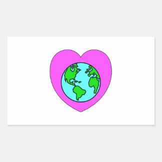 Corazón nuestro planeta pegatina rectangular